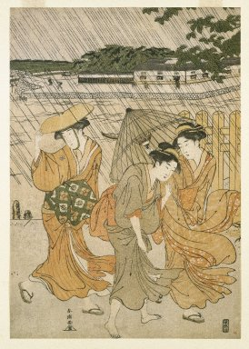 Yushid-o Shuncho (Japanese). <em>Three Women on the Bank of a River in a Shower</em>, 1789. Color woodblock print on paper, 14 5/16 x 9 15/16 in. (36.4 x 25.2 cm). Brooklyn Museum, Gift of Mr. and Mrs. Ran Hettena, 86.263.13 (Photo: Brooklyn Museum, 86.263.13_print_IMLS_SL2.jpg)