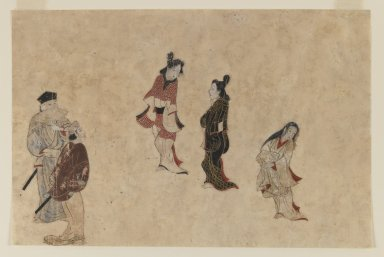 Unknown. <em>Early Ukiyo-e Painting</em>, 1625-1640. Ink, color and gold on paper, 10 7/16 x 13 13/16 in. (26.5 x 35.1 cm). Brooklyn Museum, Gift of Mr. and Mrs. Ran Hettena, 86.263.1 (Photo: Brooklyn Museum, 86.263.1_IMLS_PS3.jpg)