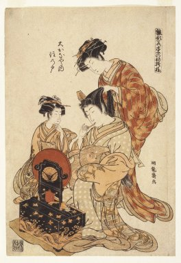 Isoda Koryusai (Japanese, ca. 1766-1788). <em>Page from the Series Hanagata Wakana no Hatsu Moyo (Models for Fashion: New Design as Fresh as Young Leaves)</em>, ca. 1775. Color woodblock print on paper, 14 3/4 x 10 in. (37.5 x 25.4 cm). Brooklyn Museum, Gift of Mr. and Mrs. Ran Hettena, 86.263.3 (Photo: Brooklyn Museum, 86.263.3_print_IMLS_SL201.jpg)