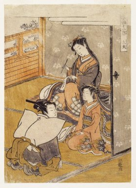 Isoda Koryusai (Japanese, ca. 1766-1788). <em>Young Woman with Youth and Young Attendant: Taifu, from Furyu Jinrin Juniso</em>, late 18th century. Color woodblock print on paper, 8 5/8 x 6 3/16 in. (21.9 x 15.7 cm). Brooklyn Museum, Gift of Mr. and Mrs. Ran Hettena, 86.263.5 (Photo: Brooklyn Museum, 86.263.5_print_IMLS_SL2.jpg)