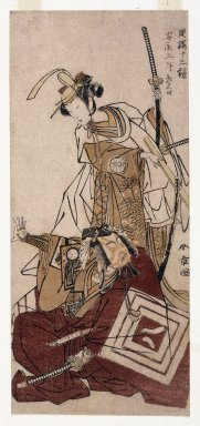 Katsukawa Shunsho (Japanese, 1726-1793). <em>The Actors Ichikawa Yaozo II and Segawa Kikunojo III as Shibaraku</em>, 1774. Color woodblock print on paper, 11 11/16 x 5 3/8 in. (29.8 x 13.7 cm). Brooklyn Museum, Gift of Mr. and Mrs. Ran Hettena, 86.263.6 (Photo: Brooklyn Museum, 86.263.6_print_IMLS_SL2.jpg)