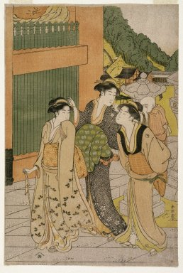 Katsukawa Shunsho (Japanese, 1726-1793). <em>Visiting the Fudō Temple</em>, ca. 1790. Color woodblock print on paper, 15 x 10 in. (38.1 x 25.5 cm). Brooklyn Museum, Gift of Mr. and Mrs. Ran Hettena, 86.263.8 (Photo: Brooklyn Museum, 86.263.8_print_IMLS_SL2.jpg)