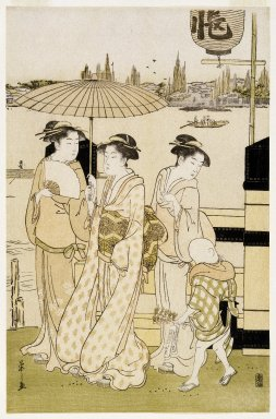 Eishi Chobunsai (Japanese, 1756-1829). <em>Three Women and a Boy Along the Sumida River</em>, 1788-1789. Color woodblock print on paper, 15 1/4 x 9 7/8 in. (38.7 x 25.1 cm). Brooklyn Museum, Gift of Mr. and Mrs. Ran Hettena, 86.263.9 (Photo: Brooklyn Museum, 86.263.9_print_IMLS_SL2.jpg)