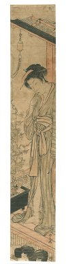 Torii Kiyonaga (Japanese, 1752-1815). <em>Courtesan on Veranda with Morning Glories</em>, circa 1783. Woodblock print, Hashira-e (pillar print), 26 7/16 x 4 11/16 in. (67.2 x 11.9 cm). Brooklyn Museum, Gift of Herbert Libertson, 86.270.1 (Photo: Brooklyn Museum, 86.270.1_IMLS_PS3.jpg)