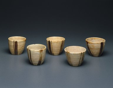 Kitaoji Rosanjin (Japanese, 1883-1959). <em>Piece from Mukozuke Set</em>, 20th century. Stoneware, Oribe ware, 2 3/4 x 3 3/8 in. (7 x 8.6 cm). Brooklyn Museum, Gift of Dr. and Mrs. John P. Lyden, 86.271.42. Creative Commons-BY (Photo: , 86.271.40-44_group_SL1.jpg)