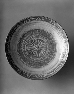 Nakazato Takashi (Japanese, born 1937). <em>Dish</em>, 20th century. Karatsu ware in Mishima style, stoneware, 1 1/2 x 7 1/4 in. (3.8 x 18.4 cm). Brooklyn Museum, Gift of Dr. and Mrs. John P. Lyden, 86.271.45. Creative Commons-BY (Photo: Brooklyn Museum, 86.271.45_bw.jpg)