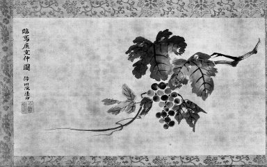 Kano Isen'in (Japanese, 1775-1828). <em>A Branch of a Grapevine</em>, late 18th-early 19th century. Hanging scroll, ink on silk, 48 x 25 in. (121.9 x 63.5 cm). Brooklyn Museum, Gift of Dr. and Mrs. John P. Lyden, 86.271.49 (Photo: Brooklyn Museum, 86.271.49_bw.jpg)