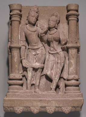 <em>Mithuna Couple</em>, ca. 5th century C.E. Sandstone, overall: 27 x 19 1/4 x 8 in., 217 lb. (68.6 x 48.9 x 20.3 cm, 98.43 kg). Brooklyn Museum, Gift of Mr. and Mrs. John L. Menke, 86.273. Creative Commons-BY (Photo: Brooklyn Museum, 86.273_PS9.jpg)