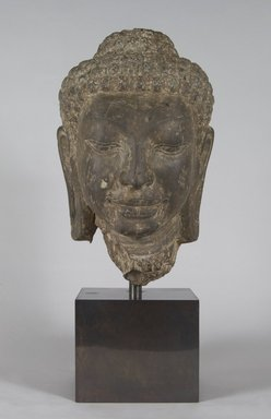 <em>Head of Buddha</em>, 8th century. Sandstone, 12 1/2 x 7 1/2 x 7 3/4 in. (31.8 x 19.1 x 19.7 cm). Brooklyn Museum, Gift of Mr. and Mrs. Robert L. Poster, 86.274. Creative Commons-BY (Photo: Brooklyn Museum, 86.274_PS5.jpg)