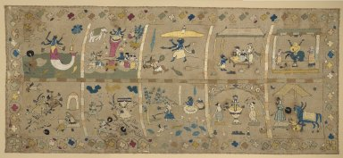 <em>The Avatars of Vishnu</em>, late 18th century. Silk and metallic threads embroidered on cotton gauze, 26 1/2 x 60 in. (67.3 x 152.4 cm). Brooklyn Museum, Gift of Paul F. Walter, 86.276. Creative Commons-BY (Photo: Brooklyn Museum, 86.276_PS2.jpg)