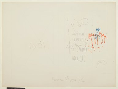 Pat Steir (American, born 1940). <em>Fear Map IX</em>, 1971. Graphite, colored pencil, ink, pastel, and crayon on paper, 14 15/16 x 20 in. (37.9 x 50.8 cm). Brooklyn Museum, Gift of Dr. Barry and Shea Gordon Festoff, 86.291.4. © artist or artist's estate (Photo: Brooklyn Museum, 86.291.4_PS2.jpg)