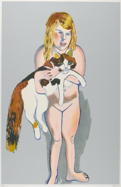 Alice Neel (American, 1900-1984). <em>Victoria with Cat</em>, 1981. Lithograph and screenprint on paper, sheet: 46 x 31 in. (116.8 x 78.7 cm). Brooklyn Museum, Gift of Elizabeth Holtzman, 86.296. © artist or artist's estate (Photo: Brooklyn Museum, 86.296_PS6.jpg)
