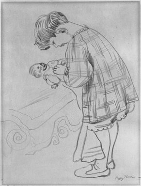 Peggy Bacon (American, 1895-1987). <em>Child and Doll</em>, n.d. Chalk on thin paper mounted to paperboard, Sheet (drawing): 11 1/16 x 8 5/8 in. (28.1 x 21.9 cm). Brooklyn Museum, Bequest of Louise Seaman Bechtel, 86.38.11. © artist or artist's estate (Photo: Brooklyn Museum, 86.38.11_bw.jpg)