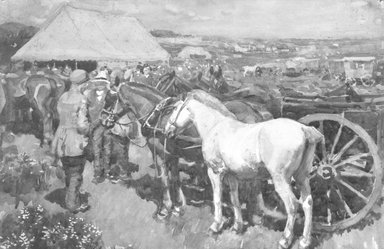 Sir Alfred Munnings (British, 1878-1959). <em>Market Day</em>, 1907. Watercolor, 10 1/4 x 14 3/16 in. (26 x 36 cm). Brooklyn Museum, Bequest of Louise Seaman Bechtel, 86.38.1 (Photo: Brooklyn Museum, 86.38.1_bw.jpg)