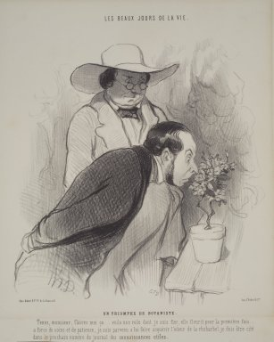 Honoré Daumier (French, 1808-1879). <em>The Botanist's Triumph (Un Triomphe de botaniste)</em>, October 20, 1844. Lithograph on wove paper, 13 1/2 x 10 1/16 in. (34.3 x 25.6 cm). Brooklyn Museum, Bequest of Louise Seaman Bechtel, 86.38.2 (Photo: Brooklyn Museum, 86.38.2.jpg)