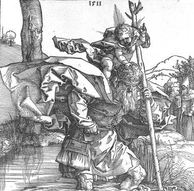 Albrecht Dürer (German, 1471-1528). <em>St. Christopher</em>, 1511. Woodcut, Sheet: 8 5/8 x 8 7/8 in. (21.9 x 22.5 cm). Brooklyn Museum, Bequest of Louise Seaman Bechtel, 86.38.6 (Photo: Brooklyn Museum, 86.38.6_bw.jpg)