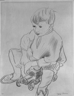 Peggy Bacon (American, 1895-1987). <em>Seated Child</em>, n.d. Chalk on paper, Sheet: 11 1/16 x 8 9/16 in. (28.1 x 21.7 cm). Brooklyn Museum, Bequest of Louise Seaman Bechtel, 86.38.9. © artist or artist's estate (Photo: Brooklyn Museum, 86.38.9_bw.jpg)