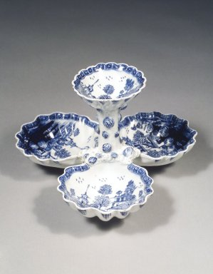 Attributed to Bow Porcelain Factory. <em>Sweetmeat Dish</em>, ca. 1760. Porcelain, 5 x 8 x 8 in. (12.7 x 20.3 x 20.3 cm). Brooklyn Museum, Designated Purchase Fund, 86.3. Creative Commons-BY (Photo: Brooklyn Museum, 86.3_transp2772.jpg)