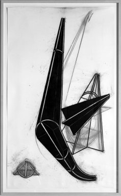 John Monti (American, born 1957). <em>Pitch Plane</em>, 1984. Charcoal and pastel on paper, 72 1/2 x 42 in. (184.2 x 106.7 cm). Brooklyn Museum, Gift of Grace Borgenicht Brandt, 86.40. © artist or artist's estate (Photo: Brooklyn Museum, 86.40_bw.jpg)