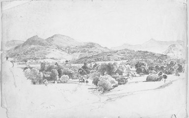 William Trost Richards (American, 1833-1905). <em>Adirondack Landscape</em>, ca. 1857. Graphite on paper, Sheet: 12 1/2 x 19 3/8 in. (31.8 x 49.2 cm). Brooklyn Museum, Gift of Edith Ballinger Price, 86.53.4 (Photo: Brooklyn Museum, 86.53.4_bw.jpg)