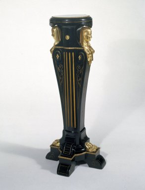 Kimbel and Cabus (1863-1882). <em>Pedestal</em>, 1865-1875. Ebonized wood, gilt metal mounts, 42 1/2 x 17 1/2 x 17 1/2 in.  (108.0 x 44.5 x 44.5 cm). Brooklyn Museum, Gift of the American Art Council, 86.81. Creative Commons-BY (Photo: Brooklyn Museum, 86.81_IMLS_SL2.jpg)