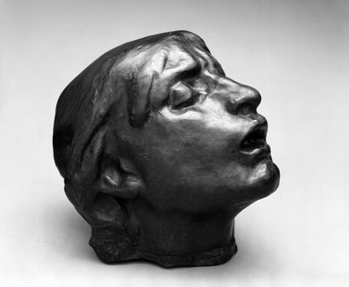 Auguste Rodin (French, 1840-1917). <em>Head of Sorrow (Tête de la Douleur)</em>, ca. 1882, enlarged ca. 1901-1902; cast before 1952. Bronze, 9 x 9 1/4 x 10 1/2 in.  (22.9 x 23.5 x 26.7 cm). Brooklyn Museum, Gift of the Iris and B. Gerald Cantor Foundation, 86.87.3. Creative Commons-BY (Photo: Brooklyn Museum, 86.87.3_bw.jpg)