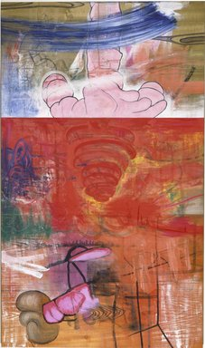 Carroll Dunham (American, born 1949). <em>No Nature</em>, 1985-1986. Mixed media on wood veneer, 58 x 34 in. (147.3 x 86.4 cm). Brooklyn Museum, Purchased with funds given by Arthur Cohen in memory of Ben Cohen and John B. Woodward Memorial Fund, 86.91. © artist or artist's estate (Photo: Brooklyn Museum, 86.91_SL1.jpg)