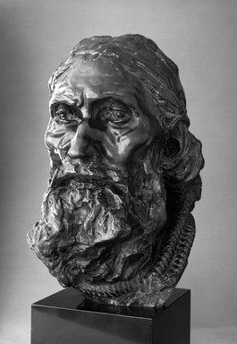 Auguste Rodin (French, 1840-1917). <em>Eustache de Saint-Pierre, Final Head, With Rope Around the Neck (Eustache de Saint-Pierre, tête définitive, avec corde autour de cou)</em>, ca. 1886; cast ca. 1983. Bronze, 16 1/4 x 9 5/8 x 11 1/2 in. (41.3 x 24.4 x 29.2 cm). Brooklyn Museum, Gift of Iris and B. Gerald Cantor, 87.106.1. Creative Commons-BY (Photo: Brooklyn Museum, 87.106.1_bw.jpg)