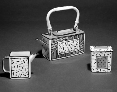 Dorothy Hafner (American, born 1953). <em>Creamer from Three Piece Tea Service, Kyoto Homage Pattern</em>, 1987. Porcelain, 3 5/8 x 5 1/2 x 2 1/8 in.  (9.2 x 14.0 x 5.4 cm). Brooklyn Museum, Gift of Dorothy Weiss, 87.120.3. Creative Commons-BY (Photo: , 87.120.1a-b_87.120.2a-b_87.120.3_bw.jpg)