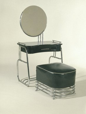 Kem Weber (American, born Germany, 1889-1963). <em>Stool</em>, ca. 1934. Chrome-plated tubular steel, upholstery, 17 1/2 x 21 x 22 1/2 in.  (44.5 x 53.3 x 57.2 cm). Brooklyn Museum, Modernism Benefit Fund, 87.123.2. Creative Commons-BY (Photo: , 87.123.1a-b_87.123.2_reference_SL1.jpg)