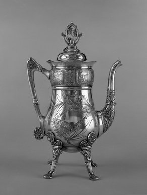 Pairpoint Manufacturing Company (1880-1929). <em>Coffee Pot</em>, ca. 1880. Silver - plated white metal, 12 3/4 x 8 1/4 x 5 in. (32.4 x 21 x 12.7 cm). Brooklyn Museum, H. Randolph Lever Fund, 87.124. Creative Commons-BY (Photo: Brooklyn Museum, 87.124_bw.jpg)