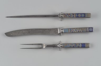 Gorham Manufacturing Company (1865-1961). <em>Knife Sharpener, Part of Three-Piece Carving Set</em>, ca. 1883. Silver with enamel inlay, steel, 13 3/4 x 1 1/2 x 1 1/8 in. (34.9 x 3.8 x 2.9 cm). Brooklyn Museum, H. Randolph Lever Fund, 87.125.3. Creative Commons-BY (Photo: , 87.125.1_87.125.2_87.125.3.jpg)