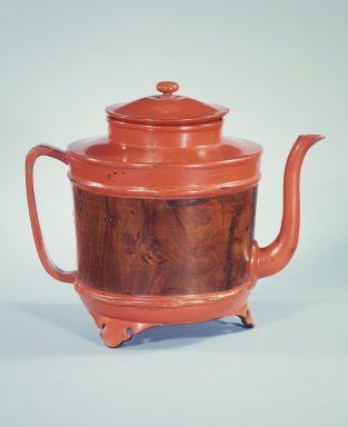 <em>Hot Water Ewer (Yuto)</em>, 16th century. Negoro ware, lacquer on wood, 9 1/2 x 8 x 7 1/4 in.  (24.1 x 20.3 x 18.4 cm). Brooklyn Museum, Gift of Dr. Hugo Munsterberg, 87.129.1a-b. Creative Commons-BY (Photo: Brooklyn Museum, 87.129.1a-b.jpg)