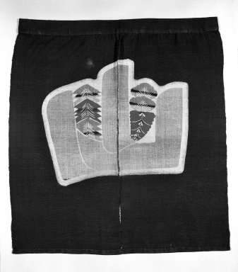 Serizawa Keisuke (Japanese). <em>Noren (Short Curtain for the Upper Part of a Doorway)</em>, mid-20th century. Linen panels with starch - resist stencil - dyed design, 31 1/2 x 29 in. (80 x 73.7 cm). Brooklyn Museum, Gift of Dr. Hugo Munsterberg, 87.129.7. Creative Commons-BY (Photo: Brooklyn Museum, 87.129.7_bw.jpg)