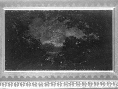 Ralph Albert Blakelock (American, 1847-1919). <em>Evening</em>. Oil on panel, Approx.: 7 1/2 x 4 in. (19.1 x 10.2 cm). Brooklyn Museum, Anonymous gift, 87.135.1 (Photo: Brooklyn Museum, 87.135.1_framed_bw.jpg)