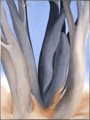 Georgia O'Keeffe (American, 1887-1986). <em>Dark Tree Trunks</em>, 1946. Oil on canvas, 40 x 30in. (101.6 x 76.2cm). Brooklyn Museum, Bequest of Georgia O'Keeffe, 87.136.1. © artist or artist's estate (Photo: Brooklyn Museum, 87.136.1_SL1.jpg)