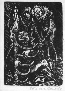 Ernst Barlach (German, 1870-1938). <em>The Harpist (Der Harfner)</em>, 1923. Woodcut on thin Japan paper, Image: 5 1/8 x 3 5/8 in. (13 x 9.2 cm). Brooklyn Museum, Gift of John James, 87.153 (Photo: Brooklyn Museum, 87.153_bw.jpg)
