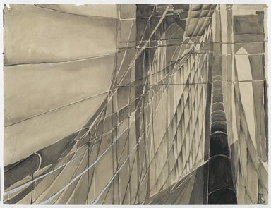 Elizabeth Karlinsky-Scherfig (Austrian, 1904-1994). <em>New York / Brooklyn Bridge I</em>, ca. 1928. Wash and gouache on paper, Sheet: 18 7/8 x 24 13/16 in. (48 x 63 cm). Brooklyn Museum, Alfred T. White Fund, 87.160. © artist or artist's estate (Photo: Brooklyn Museum, 87.160_PS1.jpg)