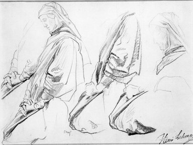 Henri Lehmann (French, 1814-1882). <em>Studies of Kneeling Figure Turned Left for Church of Sainte-Clothilde (Étude de personnage agenouillé tourné vers la gauche)</em>, 1854-1859. Pencil and conté crayon on laid paper, Sheet: 11 3/4 x 9 in. (29.8 x 22.9 cm). Brooklyn Museum, Purchased with funds given by Stephen Katz and Alfred T. White Fund, 87.164 (Photo: Brooklyn Museum, 87.164_bw.jpg)
