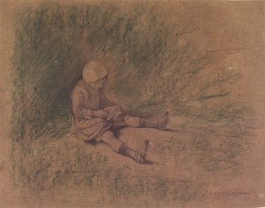 Jules Bastien-Lepage (French, 1848-1884). <em>Girl Seated in the Grass (Petite fille assise)</em>, n.d. Graphite and oil crayon on wove paper, Sheet: 11 7/8 x 15 3/8 in. (30.2 x 39.1 cm). Brooklyn Museum, Alfred T. White Fund, 87.167 (Photo: Brooklyn Museum, 87.167_transpc002.jpg)
