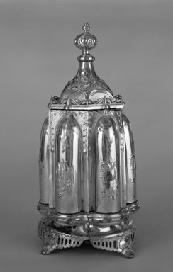 R. Gleason & Sons. <em>Magic Dinner Caster</em>, Patented December 1, 1857. Silverplate, colorless glass, 17 x 9 1/8 x 9 1/8 in. (43.2 x 23.2 x 23.2 cm). Brooklyn Museum, H. Randolph Lever Fund, 87.175.1-.7a-b. Creative Commons-BY (Photo: Brooklyn Museum, 87.175.1-.7a-b_closed_bw.jpg)