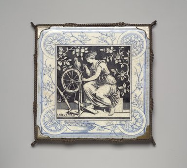 International Tile Company. <em>Tile in Trivet Frame</em>, ca. 1885. Glazed earthenware, silver-plate and other metals, 1 x 6 x 6 in. (2.5 x 15.2 x 15.2 cm). Brooklyn Museum, H. Randolph Lever Fund