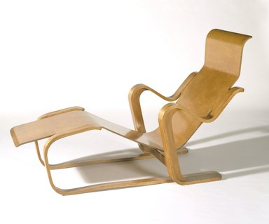 Marcel Breuer (American, born Hungary, 1902-1981). <em>Long Chair</em>, ca. 1935-1936. Molded and laminated plywood, 31 3/4 x 24 x 51 in. (80.6 x 61 x 129.5 cm). Brooklyn Museum, Modernism Benefit Fund, 87.181a-b. Creative Commons-BY (Photo: Brooklyn Museum, 87.181a_SL3.jpg)