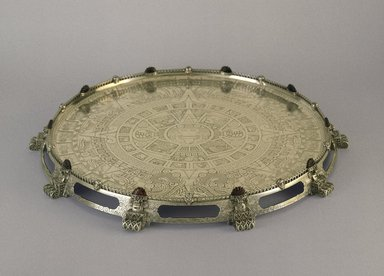 Tiffany & Company (American, founded 1853). <em>Tray or Waiter</em>, ca. 1893. Silver, agate, 2 x 21 x 21 x 21 in. (5.1 x 53.3 x 53.3 x 53.3 cm). Brooklyn Museum, Modernism Benefit Fund, 87.182. Creative Commons-BY (Photo: Brooklyn Museum, 87.182_side_SL1.jpg)