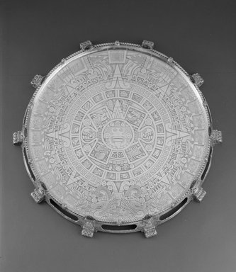 Tiffany & Company (American, founded 1853). <em>Tray or Waiter</em>, ca. 1893. Silver, agate, 2 x 21 x 21 x 21 in. (5.1 x 53.3 x 53.3 x 53.3 cm). Brooklyn Museum, Modernism Benefit Fund, 87.182. Creative Commons-BY (Photo: Brooklyn Museum, 87.182_view2_bw.jpg)