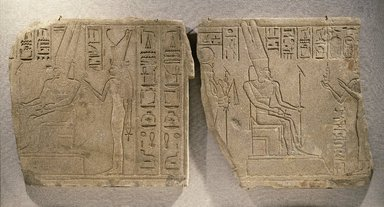 Egyptian. <em>Relief of the Theban Divine Family</em>, ca. 710-670 B.C.E. Sandstone, 28 9/16 x 27 3/16 x 2 3/16 in. (72.5 x 69 x 5.5 cm). Brooklyn Museum, Charles Edwin Wilbour Fund, 87.184.1. Creative Commons-BY (Photo: , 87.184.1_87.184.2_SL1.jpg)