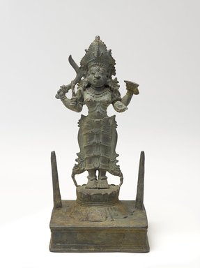 <em>Standing Kali</em>, 17th century. Bronze, 8 7/8 x 3 1/2 in. (22.5 x 8.9 cm). Brooklyn Museum, Gift of Dr. Samuel Eilenberg in honor of Dr. Bertram H. Schaffner, 87.185. Creative Commons-BY (Photo: Brooklyn Museum, 87.185_front_PS9.jpg)