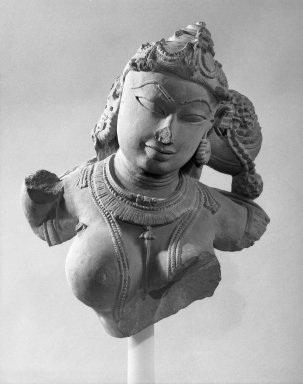 <em>Yakshi, Relief</em>, 11th-12th century. Sandstone, 16 x 13 1/2 x 8 3/4 in. (40.6 x 34.3 x 22.2 cm). Brooklyn Museum, Gift of Georgia and Michael de Havenon, 87.188.4. Creative Commons-BY (Photo: Brooklyn Museum, 87.188.4_bw.jpg)