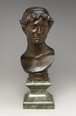 Olin Levi Warner (American, 1844-1896). <em>Maud Morgan</em>, 1880. Bronze with marble base, 23 1/2 x 8 1/2 x 11 in. (59.7 x 21.6 x 27.9 cm). Brooklyn Museum, Gift of the Estate of Mrs. Olin L. Warner, 87.193.1. Creative Commons-BY (Photo: Brooklyn Museum, 87.193.1_front_PS1.jpg)