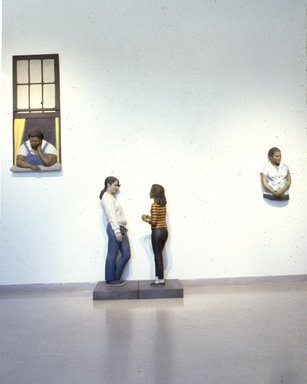 John Ahearn (American, born 1951). <em>Hazel, from Evie and Hazel</em>, 1986-1987. Oil on cast reinforced fiberglass, wood, fiberglass, 55 3/4 x 27 3/4 in. (141.6 x 70.5 cm). Brooklyn Museum, Gift of Cheryl and Henry Welt in memory of Abraham Joseph Welt, 87.194.2b. © artist or artist's estate (Photo: , 87.194.1_87.194.2a_87.194.2b_87.194.3_slide_SL3.jpg)